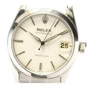 Rolex Precision Date 6466 Cal.1210 Manual Boys White Dial Ss From Japan [e0518]