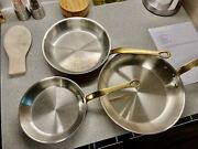 """Mauviel M'heritage 2mm Set 8"""" 10"""" 12"""" Round Copper Frying Pan With Bronze Handle"""
