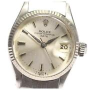 Rolex Oyster Perpetual Date Cal.1160 6517 Automatic Ladies Silver Dial [e0518]