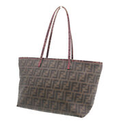 Fendi Zucca Shoulder Tote Bag Brown Pvc Leather Italy Vintage Authentic Ww333 S