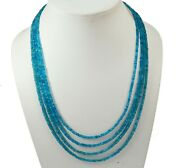 Neon Apatite Gemstone Rondelle Faceted Beads Beaded Jewelry 4 Strand Necklace