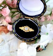 Antique 1897 Victorian 18ct Yellow Gold White Sapphire Solitaire Gypsy Ring