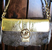 Gold Leather Fulton Small Flap Shoulder Clutch Nwt 298