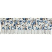 New French Country Cottage Blue Floral Striped Ruffled Valance Topper Curtains