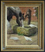 Classical Decorative Animal Oil Painting Shire Horse Doves Farm Yard Signed