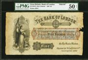 Great Britain 5 Pounds 1867 Very Rare Proof Made For Bank Of London