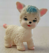 1960s Vtg. Stahlwood Squeaky Lamb Baby Toy White/pink/blue Cute Works
