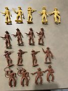 60's Vintage Plastic Figures Cowboys Bank Robbers Brown Mpc Marx Playsets Yellow