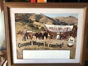 1950s California Gold Label Beer Sign Acme - Framed Four-ox Team Western Music