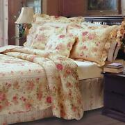 Beautiful Cozy Chic Cottage Shabby Pink Red Green Yellow Rose Leaf Quilt Set