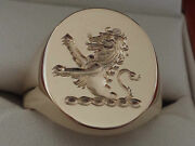 Rampant Lion Seal Engraved In Reverse, For X/l Gents Sizes Solid Head And Shank