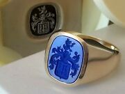 Lapis Lazuli Family Crest Signet Ring In Hallmarked 9ct Gold Any Finger Size
