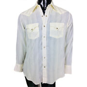 Vintage 70and039s Tem Tex Menand039s Embroidered Ivory Pearl Snap Rockabilly Western Shirt