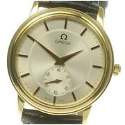 Omega K18yg Small Second Cal 651 Manual Menand039s Silver Dial Leather Belt [e0519]