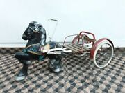 Mobo Horse And Carriage Vintage Toy. Circa 1940s. Pressed Steel.