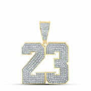 Solid 10k Yellow Gold Round Diamond Number 23 Mens Charm Pendant 1 Cttw