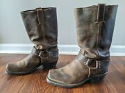 Frye 12r Harness Boots Vtg Women Brown Distressed Leather Sz 8.5 M Usa 77300
