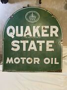 Vintage Quaker State Motor Oil Tombstone 2-sided Sign 26 X 29