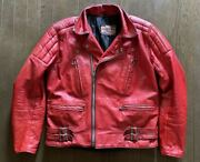 Vintage 1970's Rivett's Riders Leather Jacket Red Cowhide Size 40 W54cm