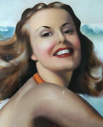 Fantastic Signed Lawrence Gordon Low 40's Bathing Beauty Pin Up Oil Painting