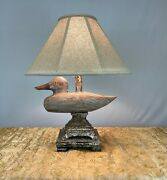 Wood And Metal Figuriene Duck Table Lamp For Living Room Bedroom
