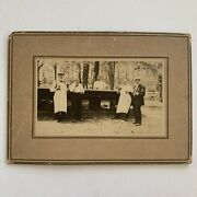Antique Cabinet Card Photo Handsome Man Men Outdoor Bar Beer Drinking Party Odd