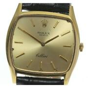 Rolex Cellini K18yg Cal.1600 Antique Manual Menand039s Gold Dial Leather [e0520]