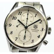 Tag Heuer Carrera Chronograph Cas2111 Automatic Menand039s Silver Ss Date [e0520]