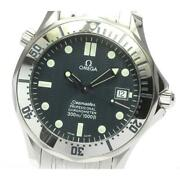 Omega Seamaster 300 2532.80 Automatic Menand039s Navy Dial Ss Date From Japan [e0520]