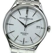 Baume And Merce Clifton Date 65834 Automatic Menand039s White Dial Date [e0520]