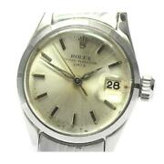 Rolex Oyster Perpetual Date 6519 Cal.1130 Automatic Ladies Silver Dial [e0520]