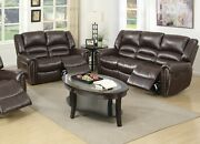Brown Living Room Furniture 2pc Motion Sofa Set Bonded Leather Reclining Couch