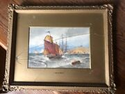 Very Nice - Thomas Bush Hardy Watercolor - Dated 1889 In Antique Frame