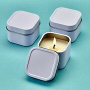 20-200 White Vanilla Scented Square Travel Candle Tin - Diy Wedding Party Favor