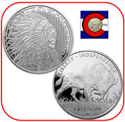2021 Liberty Trade Buffalo 1 Oz 0.999 Silver Round In Direct Fit Capsule