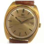 Schaffhausen Antique Date Cal.8541b Auto Menand039s Gold Dial Leather [e0521]