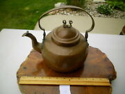Antique Wisconsin 1800s Tin Lined Copper Tea Kettle Coffee Pot Handmade Hammered
