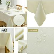 Lipo Ivory Tablecloth Waterproof Oilfree Table Clothes For Rectangle Table Cover