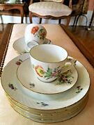 Bing And Grondahl 6 Saxon Flower Demitasse Cup And Saucer And 6 Pie Plates Hand Paint