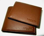 Coach F74991 Menand039s Compact Id Wallet Dark Saddle Sport Calf Leather Nwt 178