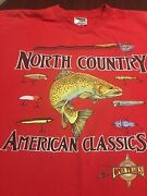 Vintage 90andrsquos North Country Open Trails Fish Lures Mens Fishing T Shirt Xl Usa