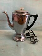 Vintage Chrome 1950s Royal Rochester 8-cup Percolator Coffee Pot With Cord