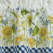 French Country Cottage Blue Yellow Sunflower Daisy Wild Flower Valance Curtain
