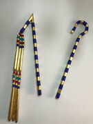 Egyptian Crook And Flail Made Of Stone And Wood Gold Leaf 29''l Made In Egypt