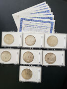 1921 7 Silver Morgan Dollars, Perfect Frosty Unc Bu Ms ++ , Very Old Collection