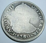 1780 So Da Santiago Chile Spanish Silver 2 Reales Antique 1700and039s Colonial Coin