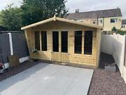 14x8 Summerhouse Apex +2ft Canopy 19mm T/g Tan Log 3x2 Cls Frame 13mm T/g Roof