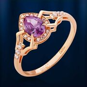 Beautiful Lab Alexandrite Cz Coctail Ring Russian Solid Rose Gold 585 /14k Nwt
