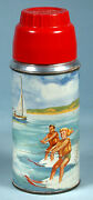 1959 Boating Metal Lunch Thermos Bottle Holtemp Water Ski Sports Polly Red Top