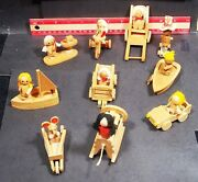 Vintage 1978 Russ Berrie Co. Wooden Doll House Figures / Toys Set Of 10